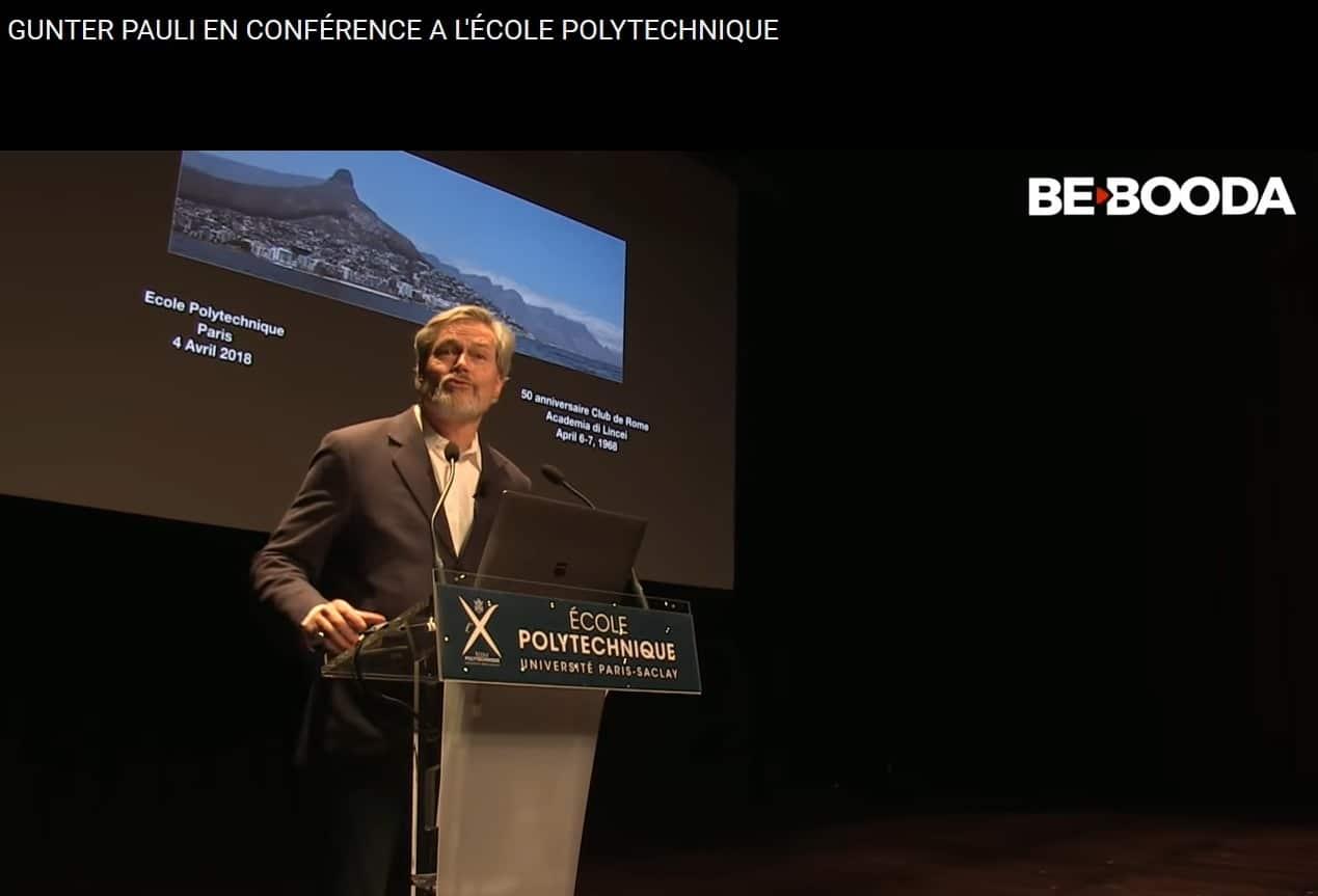 Economie Bleue Gunter Pauli Conférence à l'Ecole Polytechnique Paris Saclay 4 avril 2018